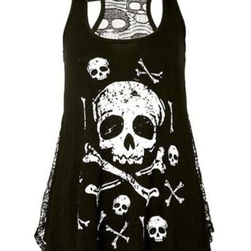 Bowknot Skull Printed Hollow Out Sleeveless T-Shirt