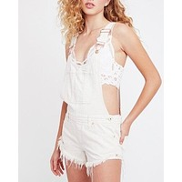 free people - summer babe hi/lo distressed denim short overalls - white