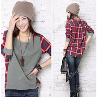 Women Long Sleeve Crew Neck Plaid Checks Print Casual Loose Top T-Shirt S M #737