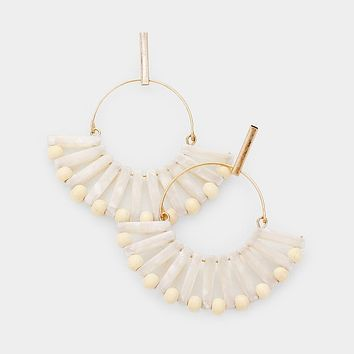 Open Circle Celluloid Acetate Wood Ball Earrings