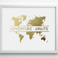 Adventure Awaits Faux Gold Foil Art Print- Minimalist - Home Office Bathroom Decor - Housewarming Gift - College Dorm - World Travel Maps