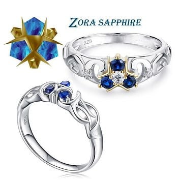 The Legend of Zelda Crystal 925 Sterling Silver Zora Zora's Sapphire Ocarina of Time Engagement Ring