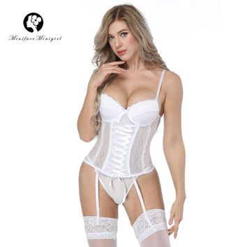 Minifaceminigirl White Lace Bustier Women Overbust Push Up Corset Sexy Femme Lace Up Lingerie See Through Corsets Bustiers