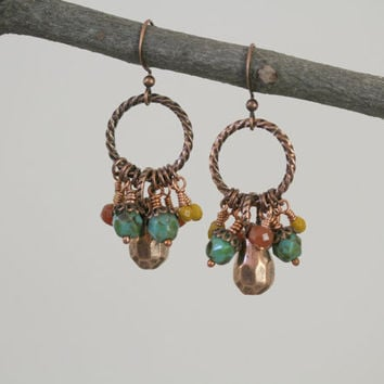Antiqued Copper and Czech Glass Dangling Spiral Hoop Boho Style Earrings