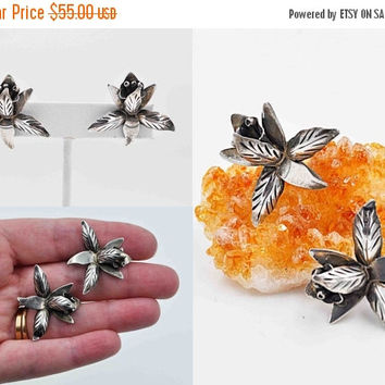 ON SALE Vintage Taxco Sterling Silver Orchid Earrings, Mexico, Screw Back, 3D, Flower, Floral, Mexican, Artist Signed, Eagle, 1950's #b812