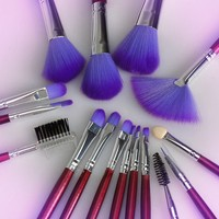 Maran 16pc Professional Cosmetic Makeup Make up Brush Brushes Set Kit With Purple Bag Case