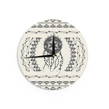 "Famenxt ""Bohemian Dream Catcher Boho"" Black Beige Wall Clock"