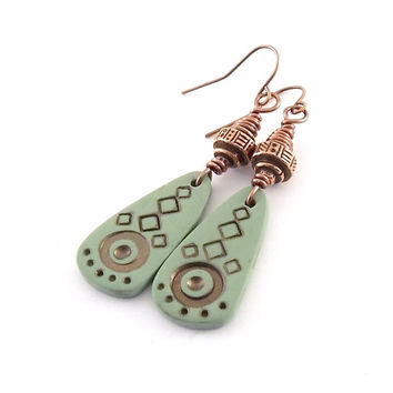 Green and Copper Tribal Earrings - Green Earrings - Copper Earrings - Antique Copper - Lightweight Earrings - Boho Earrings - Long Earrings