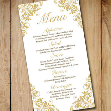 "Gold Wedding Menu Card Template -  Wedding Reception Menu - Flourish Gold ""Maggie"" Menu Printable Download - Formal Wedding Menu"