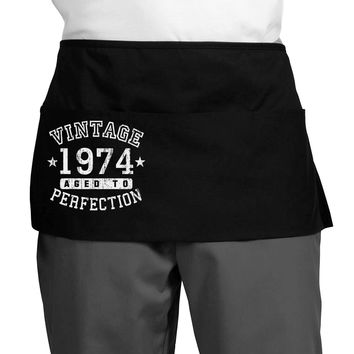 Vintage Birth Year 1974 Dark Adult Mini Waist Apron, Server Apron