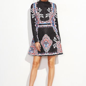 Black Jacquard Flare Vintage Print Dress