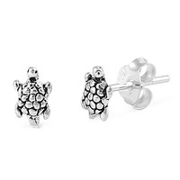 Sterling Silver Turtle Stud Earrings