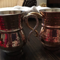Freeshipping..2 pieces handhamerred copper couple mugs ..two different colors.. For your best friend and you.. Darling and you..all couples.
