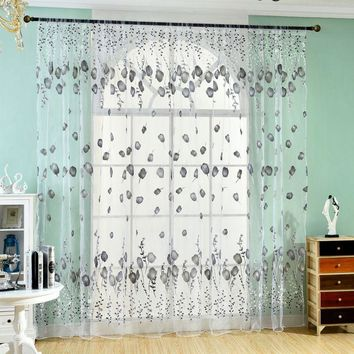 Window Curtains Sheer Voile Tulle for Bedroom Living Room Balcony Kitchen Floral Printed Tube  Curtain