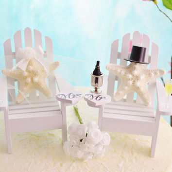 Champagne Wedding Topper ~ Miniature Adirondack Chairs  ~ Knobby Starfish Bride/Groom ~ Beach Wedding ~ Cake Topper with Champagne Glasses