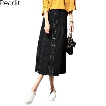 Long Skirt Women Large Size Denim Skirts Casual Female Ladies Single Breasted A Line Long Jeans Skirt Big Size 8XL S2611