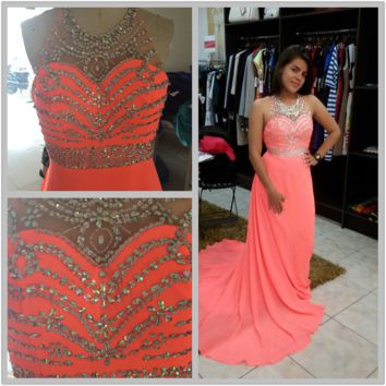 A-Line Beads Floor Length Prom Dresses,Prom Dress