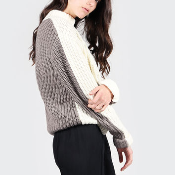 Little Numbers Knit Sweater - white/grey