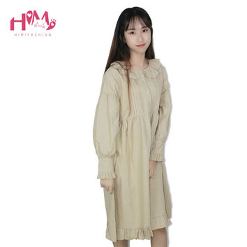 Soft Sister Japanese Long sleeve women Vintage Dresses Young Girl Doll Collar Autumn Princess Dress For Ladies Loose Vestidos