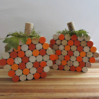 Wine Cork Pumpkins - Fall, Autumn, Centerpiece, Halloween Accents, Rustic Home Decor - Set of 2