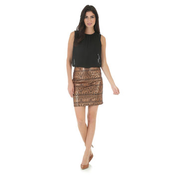 Wrangler Womens Black Sleeveless Aztec Copper Metallic Skirt Dress