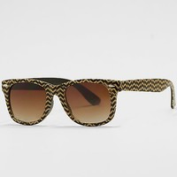 Women's Chevron Sunglasses in Black/Khaki by Daytrip.