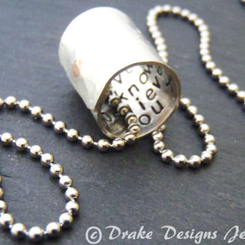 Secret Message Jewelry Personalized Necklace with message hidden inside