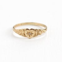 Vintage 10k Yellow Gold Diamond Heart Ring - 1940s Size 4 Hallmarked PSCO Plainville Stock Co. Repousse Design Valentine's Day Fine Jewelry