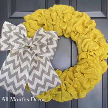 Yellow Burlap Wreath with Gray Chevron Burlap Bow, Rustic Home, Country Decor, Spring Easter Fall Thanksgiving Winter Christmas, Year Round