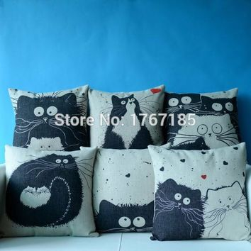 Black And White Cat Family Cushion Decorative Pillows Home Decor Sofa Throw Pillow Cat Cartoon Cotton Linen Square Pillowcase