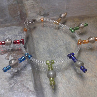 Clear Glass Bead Bracelet with Multi-Coloured Accent Charms