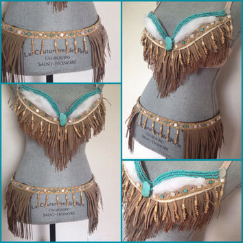 Pocahontas Inspired Native Indian costume, fringe top, fringe belt, push up, rave bra