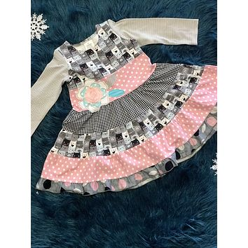 2018 Fall Roki & Zoi By ZaZa Couture Pink And Gray Bear Dress