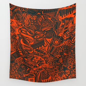 Inky - Orange & Green Wall Tapestry by DuckyB