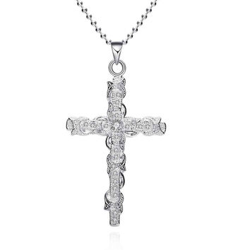 Fashion silver plated Chain Odd-shaped Insets Cross Necklaces Pendants For Women Men jewelry SMTN359