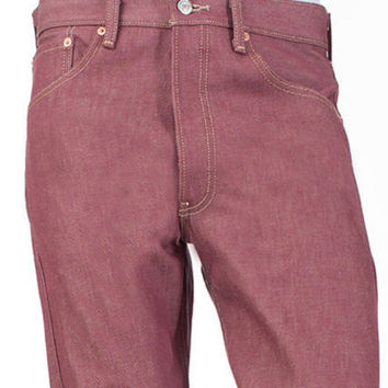 Levi's 501 Men's Shrink-To-Fit Straight Button-Fly Denim Jeans Bordeaux