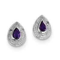 Sterling Silver Pear Amethyst & Diamond Accented Post Earrings