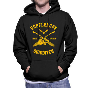 Hufflepuff Quidditch team Captain Yelow print printed on Black Hoodie