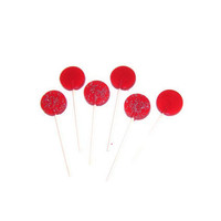 12 Polka Dot Lollipops - Bright Red Cinnamon - Perfect Party Favors