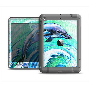 The Pastel Vibrant Blue Dolphin Apple iPad Mini LifeProof Nuud Case Skin Set