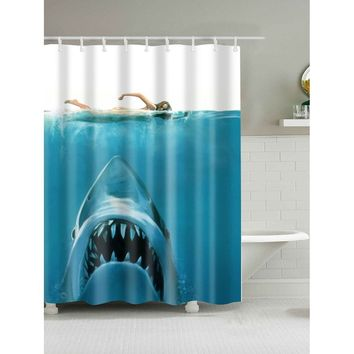 3D Shark Print Shower Curtain With Hook 12pcs