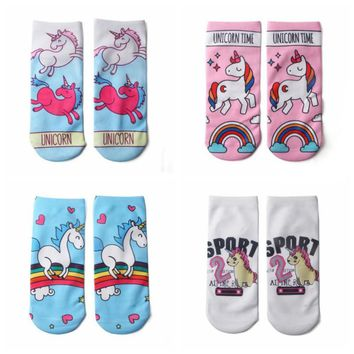 Unicorn Low Cut Ankle Boat Socks Funny Crazy Cool Novelty Cute Fun Funky Colorful