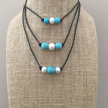Turquoise Stone & Pearl Necklaces