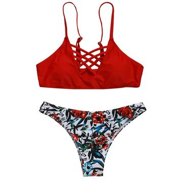 Lattice Front Cami Crop Bikini Set