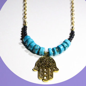 turquoise necklace, hamsa necklace, long necklace, boho necklace, boho jewelry