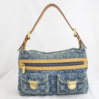 Auth Louis Vuitton Monogram Denim Baggy PM 2way Shoulder Bag Blue Leather e29941