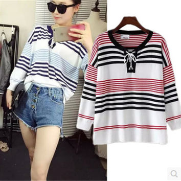 Tie Collar Cuff Sleeve Striped Knit T-Shirt