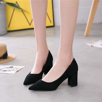Women Simple  All-match Fashion Suede Shallow Mouth Pointed-toe Block Heels Shoes