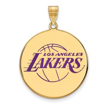 NBA 14k Yellow Gold Plated Silver Los Angeles Lakers XL Disc Pendant