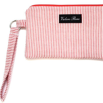 iPhone 6+ Wristlet - Coral Seersucker